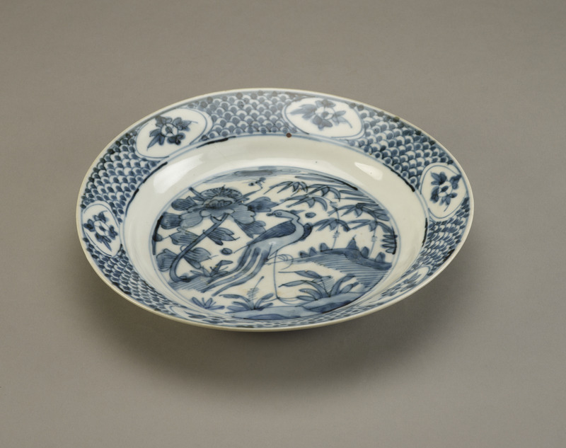 Dish with design of phoenix and peony