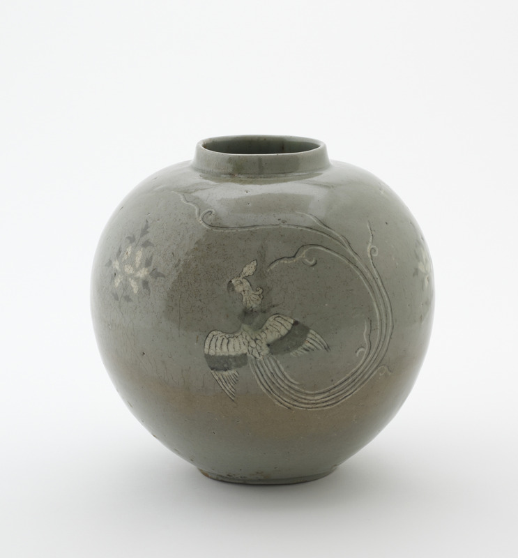 Jar with inlaid design of three phoenixes