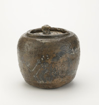 Tea ceremony water jar with design of pine and plum trees