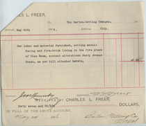 Charles Lang Freer to Barton voucher, May 5, 1906
