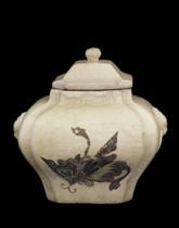 Lidded jar with design of butterflies