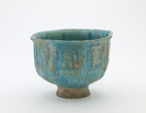 Bowl, octagonal; bold spreading foot; broken and repaired