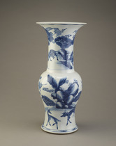 Vase with design of deer in a landscape