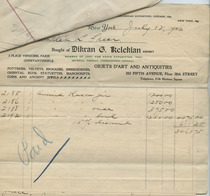 Invoice from Dikran G. Kelekian to Charles Lang Freer, July 10, 1906