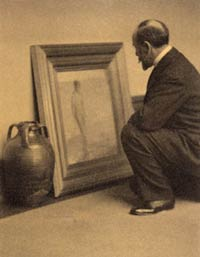 Alvin Langdon Coburn. Charles Lang Freer Comparing Whistler's Venus Rising from the Sea to a Glazed Syrian Pot. 1909. Freer Papers.