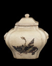 Lidded jar with design of butterflies