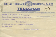 Telegram from President Roosevelt to Charles Lang Freer, January 24, 1906