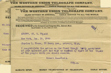 Telegrams to Charles Lang Freer from Charles Morse and Howard Mansfield, January 26, 1906