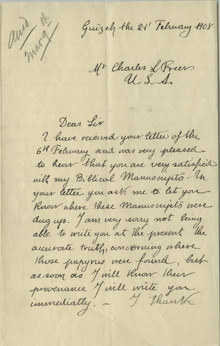 Cheikh Ally to Charles Lang Freer, February 21, 1908