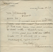 George Swain to JM Kennedy, June 18, 1908