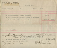 Invoice from Charles Lang Freer to George Swain, June 17, 1908