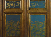 West Wall, after cleaning, varnishing, and conservation treatment; before and after inpainting